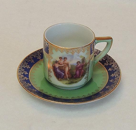 Vintage Demitasse Portrait Cup & Saucer.. Czechoslovakia.. Classical Figures