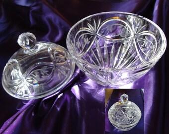 Gorham Crystal Bowl  with Lid  Victoria's Garden Pattern