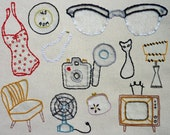 Vintage Shop Hand Embroidery Pattern. Classic Series.