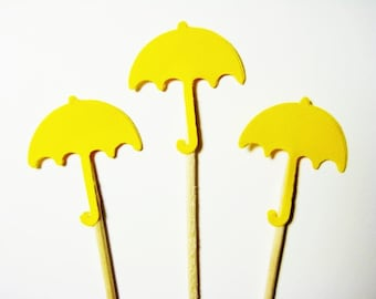 24 Bright  Yellow Umbrella Party Picks - Cupcake Toppers - Toothpicks - Food Picks - FP614