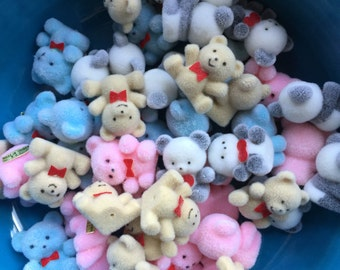 SALE Buy One Get One 12  Mini BEARS Flocked Little Bears Pink Blue White Tan 24 Tiny Dollhouse Embellish 1 inch Blue Pink Gift Wrap Flock