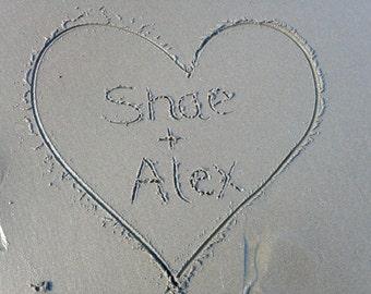 Digital custom message in the sand.  Valentine's Day Digital Print. Digital Card Making, Wedding Announcement, Baby Birth Announcement