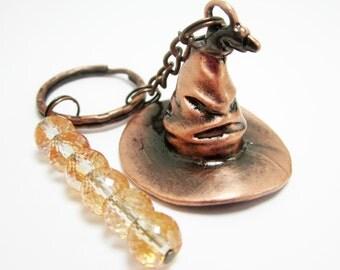 Wizard Hat Keychain Witch Hat Key Ring Copper Drum Glass Beads Halloween Keychain
