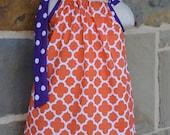 Orange Quatrefoil and Purple Polka Pillowcase Dress