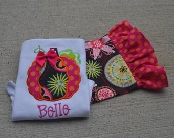 Girl's Orange and Pink  Floral  Pumpkin Monogrammed  Ruffle Pant Shirt Set