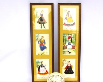 Vintage GREEK FOLK Embroidery ART/ Pair