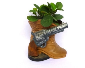 VINTAGE Kitsch COWBOY Boot PLANTER