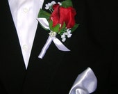 Red Rose Bud Boutonniere in Classic Style