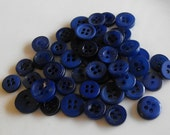 Navy Blue Buttons, 50 Small Assorted Round Sewing Crafting Bulk Buttons