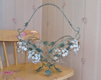 shabby chic metal basket vintage floral basket cottage easter basket metal tole basket