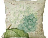 Romantic Soft Aqua Hydrangea on French Document  in Choice of 14x14 16x16 18x18 20x20 22x22 24x24 26x26 inch Pillow Cover