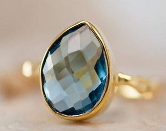 SALE - London Blue Topaz Ring - December Birthstone Ring - Tear Drop Stone Ring - Stackable Ring - Gold Ring - Gift For Her