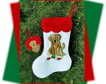 In The Hoop Golden Retriever Stocking and Ornament Embroidery Machine Design Set