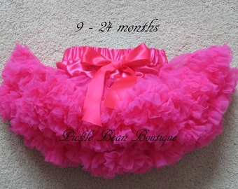 Hot Pink Tutu - Hot Pink Pettiskirt - 0-2 years - Ready To Ship - 1st Birthday Tutu - Girls Petti Skirt