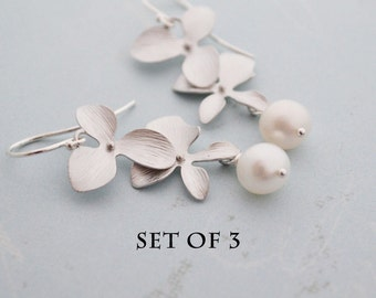 DISCOUNTED Set of 3 Silver Orchid Flower Earrings, Freshwater Pearls, Sterling Silver French Hoops, Bridesmaid Gift, Wedding Jewelry