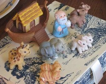 vinatge lovely biblical Noah's ark set Noah ark and animals