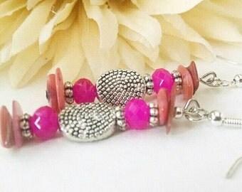 Pink Earrings, Bohemian Pink Earrings, Pink Shell Earrings, Dangle, Beaded, Tribal Silver, Silver Pink Czech Glass Earrings, Valentines Gift