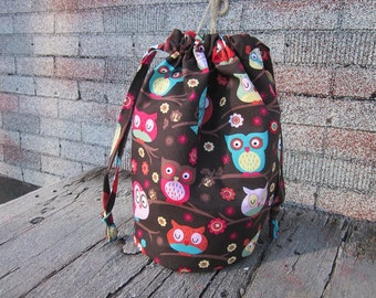 Knitting project bag, crochet bag, owl bag