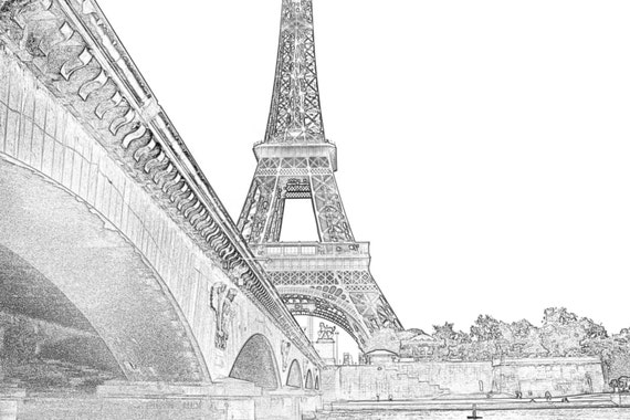Eiffel Tower Sketch, Black and White Paris Sketch, Paris Drawing,  Paris bridges, Modern wall Art, Paris Decor