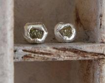uncut -Raw Rough Diamond-post back-stud earrings- organic silver-one of kind
