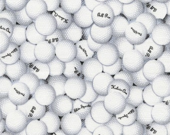 Sports Collection Golf Balls White with words premium cotton fabric by Timeless Treasures