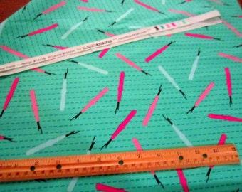 Sew Pretty Seam Rippers On Green premium cotton fabric from Robert Kaufman