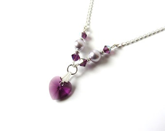 Childrens Necklace, Plum Amethyst Lavender Crystal Necklace, Heart Necklace, Kids Jewelry, Junior Bridesmaid Jewelry, Gift for Tween Girl