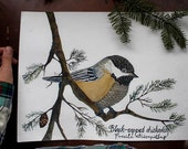 SALE Black Capped Chickadee Bird Art-  Original Watercolor Painting by Sarah Rose Storm