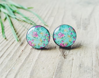 Turquoise Floral Stud Earrings, Flowers Post Earrings, Turquoise Post Earrings, Rose Flower Earrings Studs, Floral Jewelry, Gift For Her