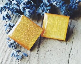 Gold Glitter Earrings, Gold Stud Earrings, Square Earrings, Geometric Earrings, Gold Stud Earrings, Gift For Her, FREE Shipping