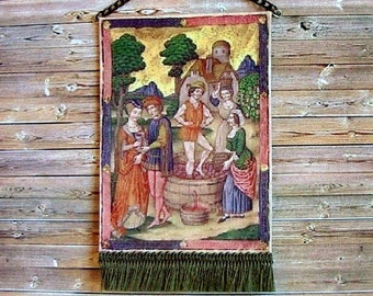 Medieval Tapestry, Wine Making, Dollhouse Miniature 1/12 Scale, Hand Made in the USA