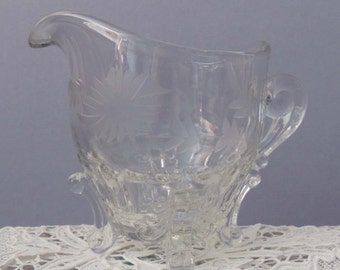 Etched Floral Glass Creamer / Floral Glass Creamer / Footed Glass Creamer / Glass Floral Creamer / Vintage Glass Creamer / Serving Piece