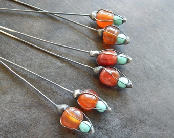 Carnelian and aqua glass wrapped pair headpins