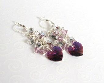 Amethyst Heart Cluster Earrings, Swarovski Crystal Earrings, Amethyst Purple Heart Earrings, Valentine Jewelry Gift for Her