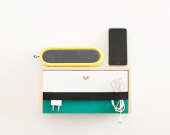 Wooden wall floating shelf / Modern floating nightstand / Hand painted finish - Minimalistic hanging shelf / floating minimal bedside table