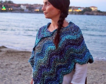 Crochet PATTERN woman chevron ripples poncho, weaves  cape, women capelet, bulky yarn, DIY photo tutorial, Instant download