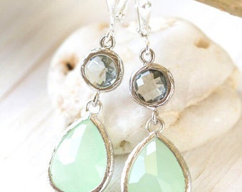 Mint Charcoal Drop Earrings in Silver.  Mint Grey Bridesmaid Dangle Earrings. Drop Earrings. Jewelry Gift for Her.  Bridal Party Gift.