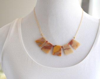 SALE - Warm Earthtone Bib Necklace with Gold Red and Brown Stones.  Bib Statement Necklace. Gift.  Modern Jewelry.  Statement Jewelry.