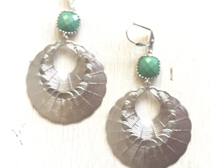 SALE - Spring Green Statement Earrings in Silver.  Large Dangle Earrings. Gift.  Jewelry Gift.  Gift for Her. Dangle Earrings.  Jewelry.