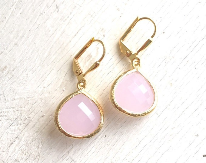 Simplicity Drop Earrings - Soft Pink Faceted Glass Teardrop in Gold. Simple Gold Earrings.  Pink Fashion Earrings. Gift for Her.