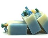 Blue Skies Handmade Artisan Soap Shea Butter Blue Swirl Bath Bar Cold Process Ewes Soap