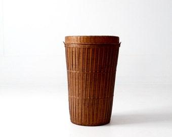 vintage hamper basket, woven reed tall basket with lid