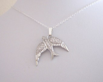 FLYING BIRD with CZ stones sterling silver pendant with chain necklace