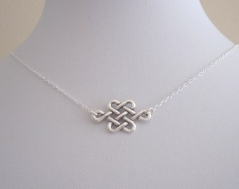 Floating CELTIC KNOT sterling silver charm with necklace