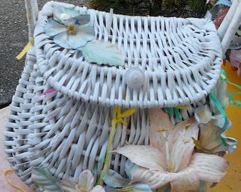 Boho vintage Easter basket with lilies