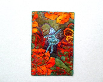 Flower Faerie in the garden greeting card, textile art, orange flowers, one of a kind card, mini art, artful gift, blue fairy