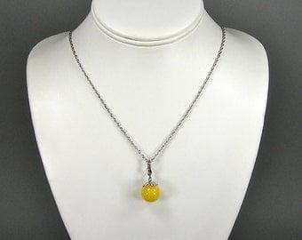 Egg Yolk Amber Pendant, Sterling Silver, Vintage Polish Jewelry, Baltic Amber, Art Nouveau
