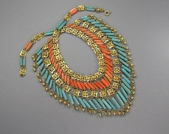 Egyptian Revival Collar, Cleopatre, Branch Coral, Faience, Exquisite Bib Necklace, 1920's, Statement Necklace, Vintage Ethnic Jewelry