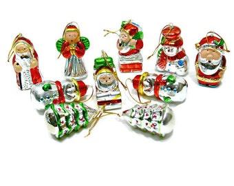 10 Vintage Christmas Ornaments - Molded Hollow Mercury Glass Look Plastic