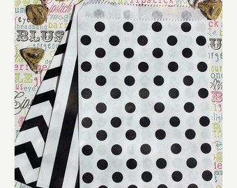 Black and White Favor Bags in Polka Dot, Stripe and Chevron - Black and White Wedding Favor Bags - Candy Bags, Popcorn Bags, Treat Bags - 75
